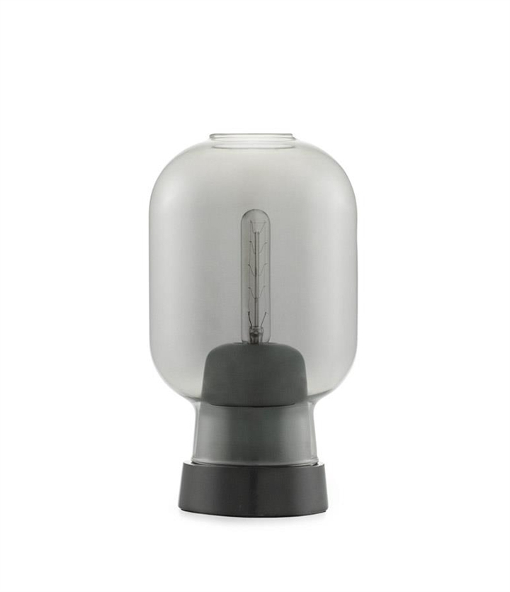 Amp bordlampe, Smoke/Sort marmor