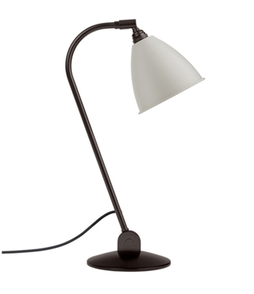 Bestlite BL2 bordlampe, sort messing, klassisk hvid