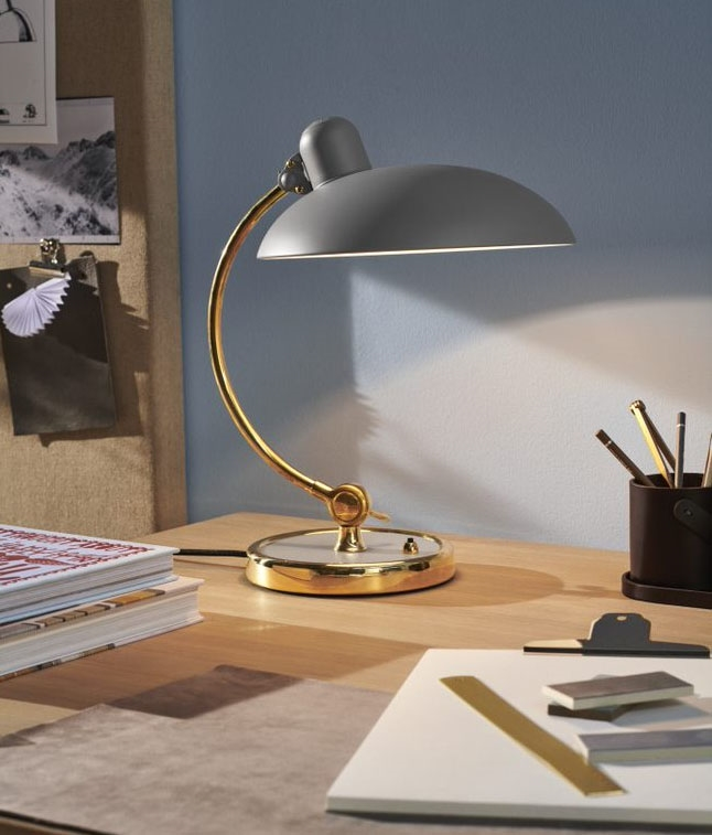 Kaiser idell 6631-T Luxus bordlampe - Easy Grey / Brass