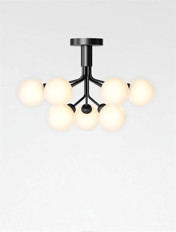 Apiales 9 loftlampe, satin sort/opal